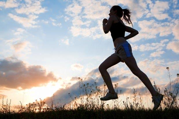 running woman in shorts